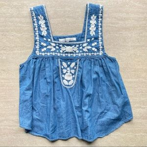 Lovers + Friends Embroidered Chambray Swing top
